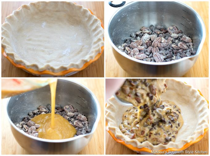 Step-by-step images and ingredients for pecan pie