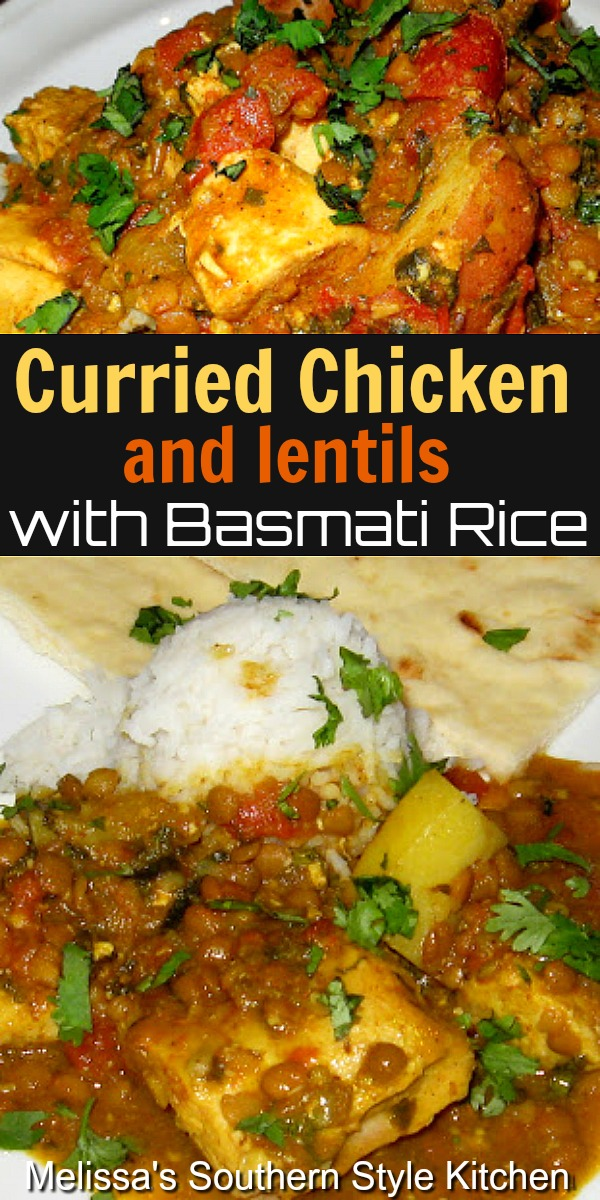 Curried Chicken and Lentils with Basmati Rice is packed with flavor #chickencurry #redcurry #chickenandrice #Indianredcurry #curryrecipes #curriedchicken #rice #dinner #dinnerideas #easychickenrecipes #lentils