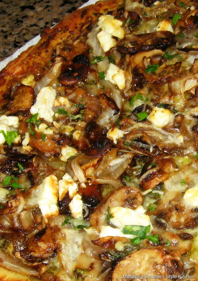 Mushroom Caramlized Onion Goat Cheese Pizza on parchment