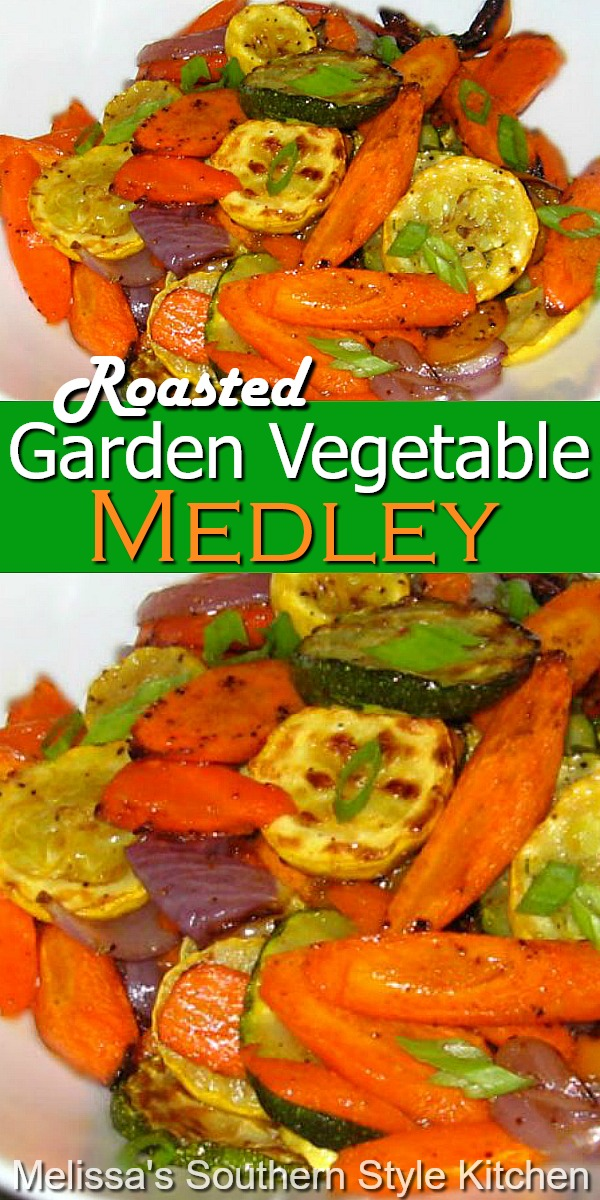 Simplicity saves the day and it's healthy, too! #vegetarian #vegetablemedley #mixedvegetables #roastedvegetables #carrots #zucchini #squash #healthyfood #vegetables #gardening #sidedishrecipes #southernfood #southernrecipes #peppers #dinnerideas #dinner