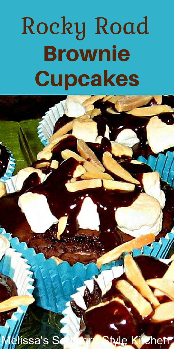 These easy Rocky Road Brownie Cupcakes are a sweet handheld dessert topped with marshmallows, warm chocolate ganache and toasted almonds #brownies #browniecupcakes #cupcakerecipes #rockyroadcupcakes #easydessertrecipes #southernrecipes