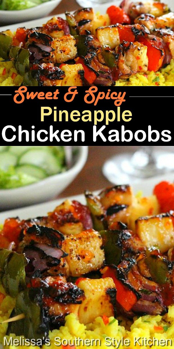 Add these sweet and spicy pineapple chicken kabobs to you grilling menu #chickenkabobs #pineapple #pineapplechicken #kebabs #kabobrecipes #easychickenrecipes #chickenbreasts #dinnerideas #grilling #southernfood #southernrecipes