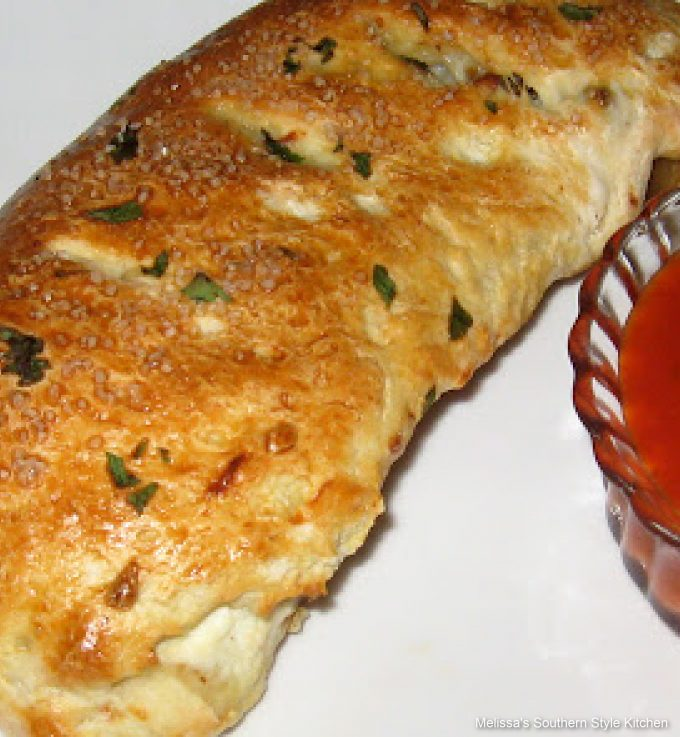 baked whole Turkey Sausage Spinach Calzone