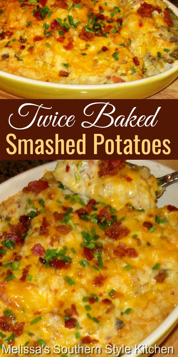 Irresistible Twice Baked Smashed Potatoes feature an ooey gooey cheddar and bacon amalgamation of potato goodness #twicebakedpotatoes #smashedpotatoes #potatocasserole #potatorecipes #casseroles #dinnerideas #dinner #sidedishrecipes #holidaysidedishrecipes #southernfood #southernrecipes