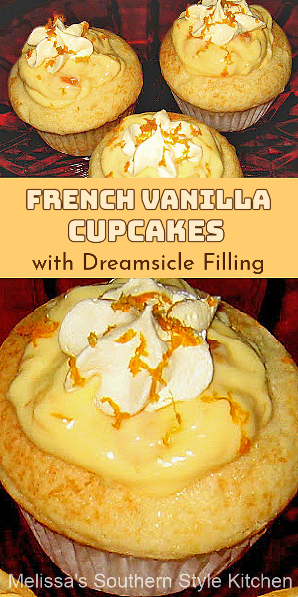 These easy Vanilla Cupcakes with Dreamsicle Filling are a cake mix hack that will have the family running to the dessert table #cupcakes #cakemixhack #frenchvanillacupcakes #dreamsiclefilling #creamsicle #orangedesserts #clementines #summerdesserts #southernrecipes