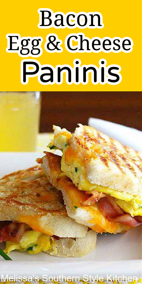 Start the day with these breakfast Bacon Egg and Grilled Cheese Paninis #paninis #baconandeggs #baconeggcheese #baconeggcheesepanini #breakfastrecipes #brunch #breakfastpanini