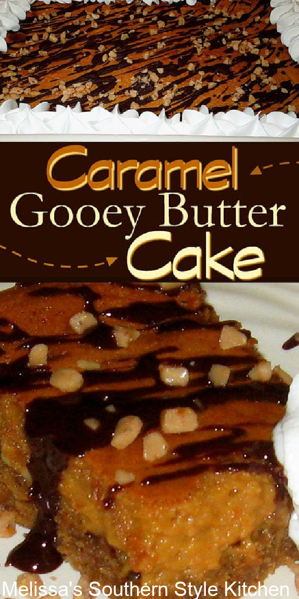 This Caramel Chocolate Almond Gooey Butter Cake features a rich and buttery duche de leche filling #dulcedeleche #caramel #gooeybuttercake #cakes #caramelcake #gooeybutter #southerndesserts