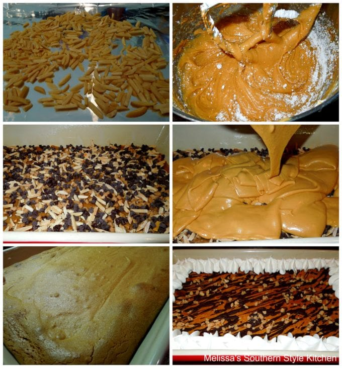 step-by-step preparation images cake batter and baked cake