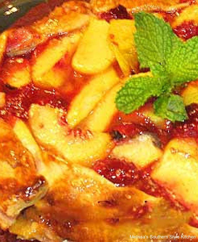 close-up Peach Raspberry Galette