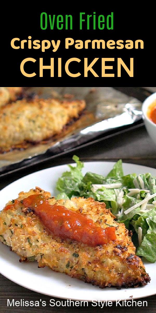 Serve this crispy oven fried Parmesan chicken for your next at-home Italian night #chickenparmesan #parmedsanchicken #easychickenrecipes #friedchicken #italianfood #dinnerideas #dinnerrecipes #southernfood #southernrecipes #easychickenbreastrecipes