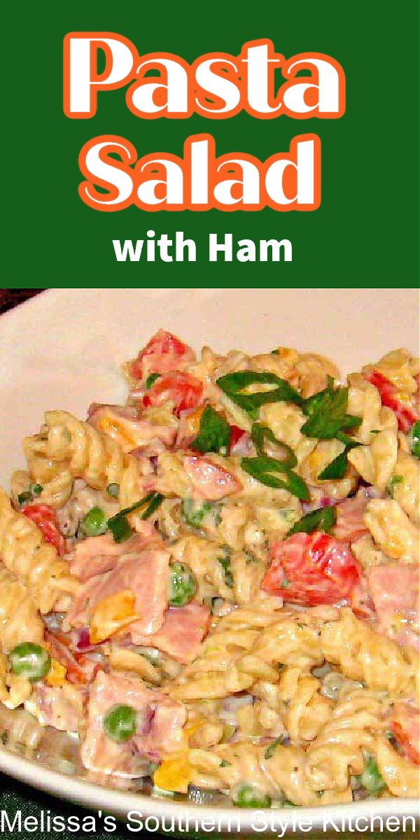This Pasta Salad with Ham features peas and Muenster cheese making it a delicious way to use leftover holiday ham #rotinipastasalad #pastasalad #pastarecipes #pasta #saladrecipes #pastasaladwithham #leftoverhamrecipes