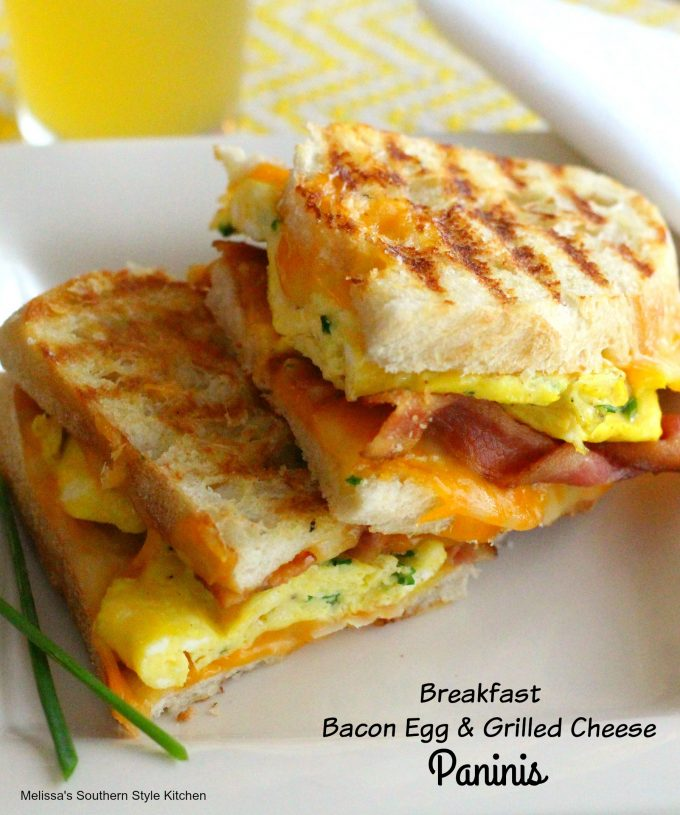 Breakfast Bacon Egg and Grilled Cheese Paninis
