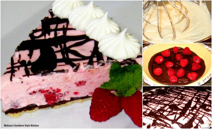 Step-by-step preparation images and ingredients for Frozen Raspberry Chocolate Pie