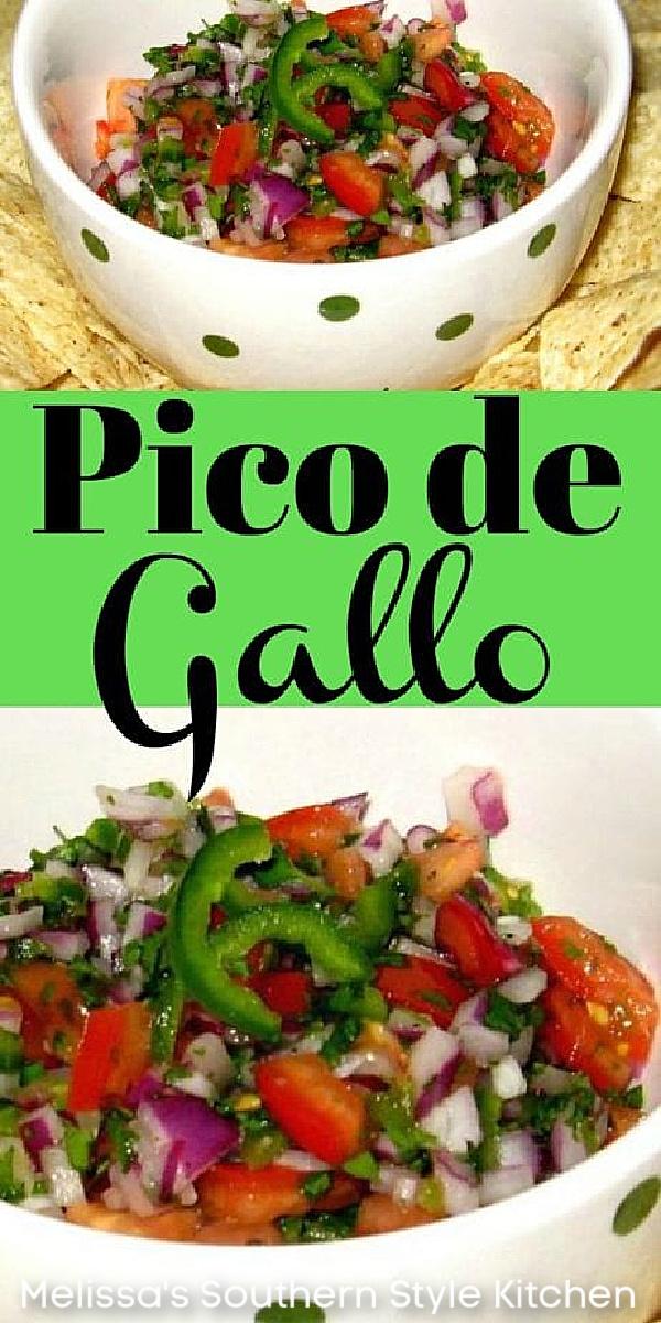 Pico de Gallo is a fresh topping to enjoy on salads, tacos, enchiladas and fajitas or enjoy it with tortilla chips as a dip #picodegallo #homemadesalsa #salsarecipes #easyrecipes #mexicanfood #tacos #freshsalsa #southernrecipes