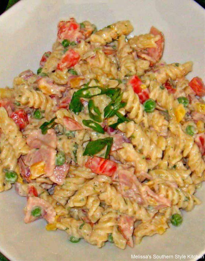 pasta-salad-with-ham-peas-muenster-cheese