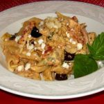Mediterranean Penne with Roasted Chicken Feta And Pine Nuts