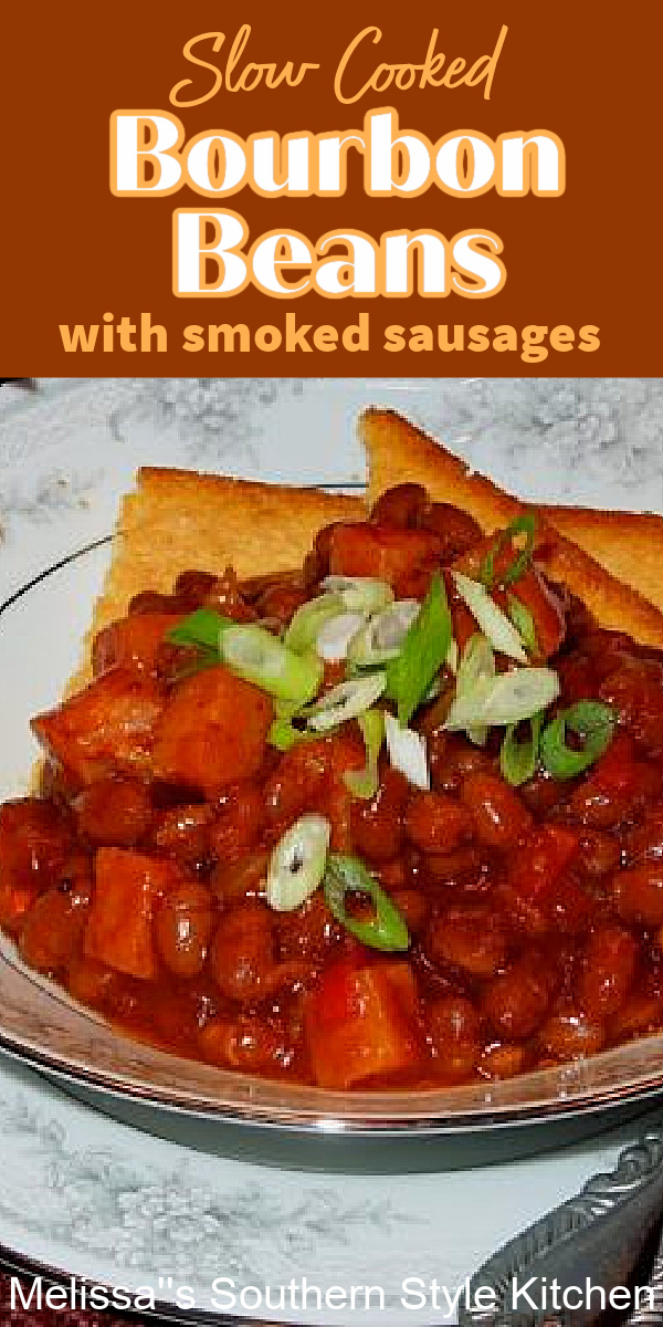 This Slow Cooked Bourbon Beans feature a kicked-up seasoning blend alongwith smokedsausages and just a hint of Kentucky bourbon for kick #slowcookedbakedbeans #bourbonbeans #bakedbeeansrecipes #bourbon #bouronbeansrecipes #southernrecipes