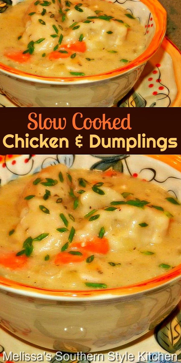 Make this comfort food classic in your slow cooker for dinner any day of the week #chickenanddumplings #slowcooker #slowcookedchickenrecipes #easychickenrecipes #crockpotrecipes #crockpotchickenanddumplings #dinner 3dinnerideas #southernfood #southernrecipes #crockpotchicken #dumplings