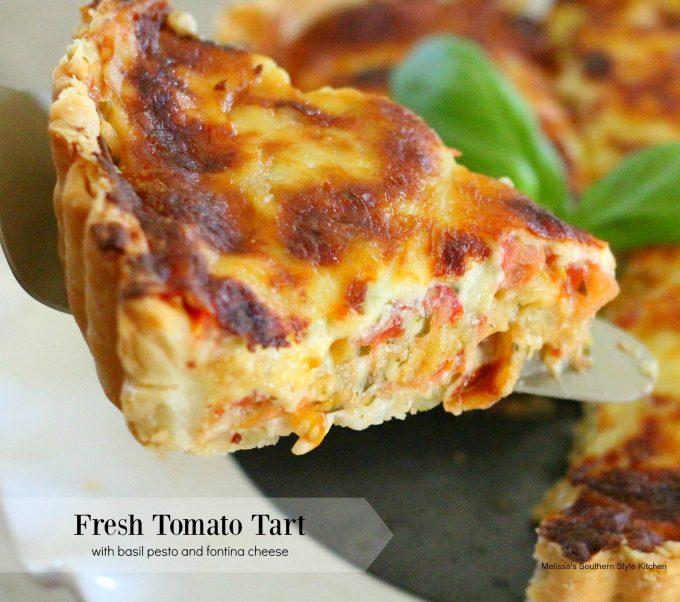 Fresh Tomato Tart with Basil Pesto and Fontina Cheese