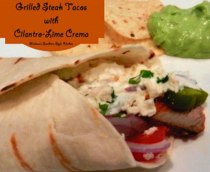Grilled Steak Tacos With Cilantro Lime Crema