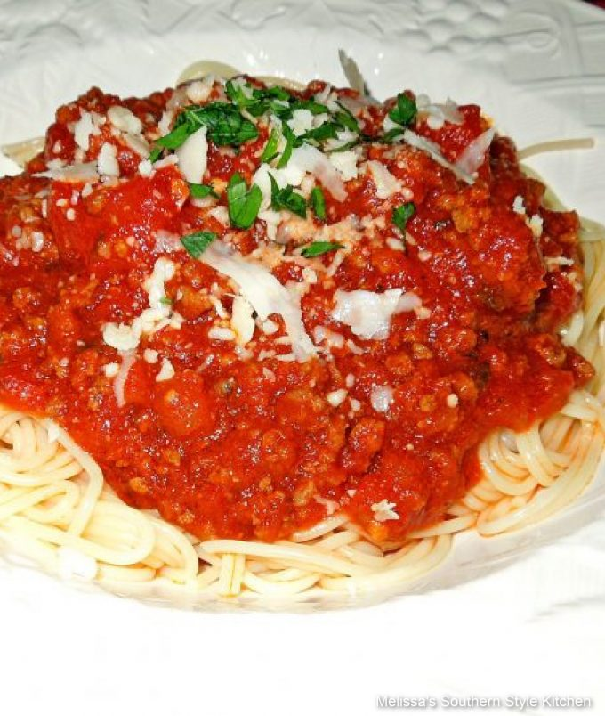 Slow Cooker Spaghetti Sauce with Parmesan cheese