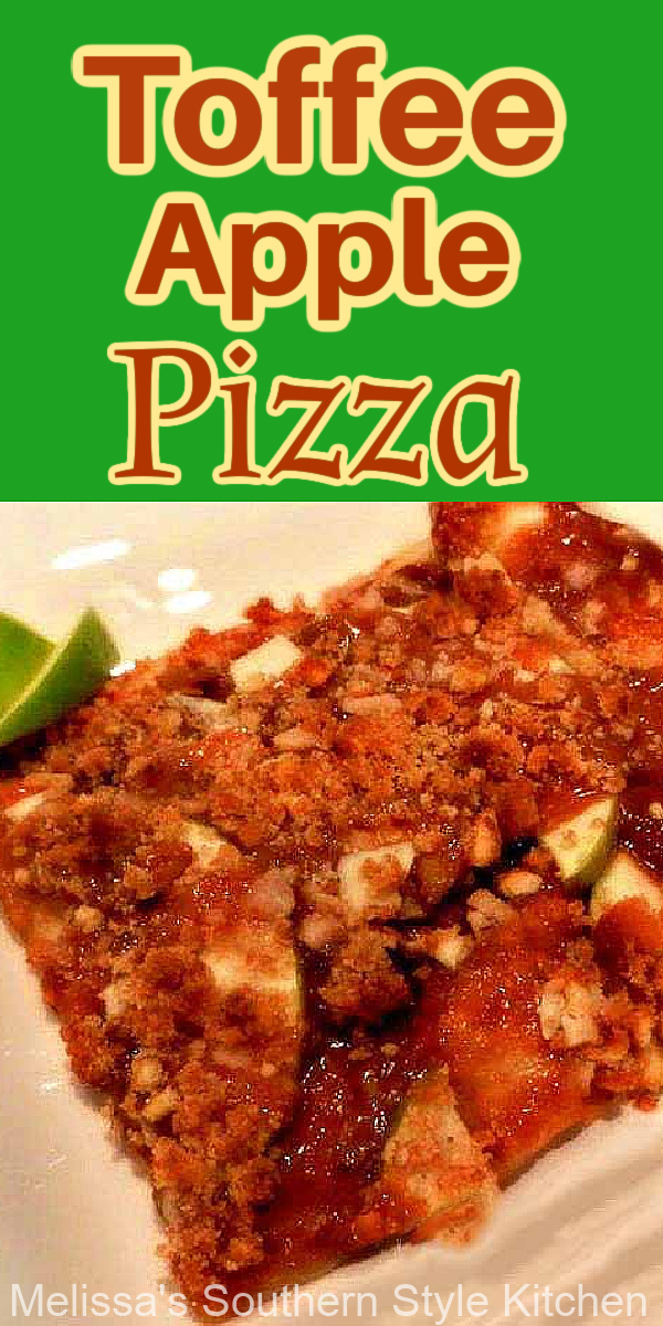 Serve Toffee Apple Pizza for dessert during fall harvest months or in the summer in place of apple pie, for a bonefide dessert pizza treat #toffeeapplepizza #toffeeapples #applepie #applerecipes #caramelapples #apples #appledesserts #dessertpizzarecipes
