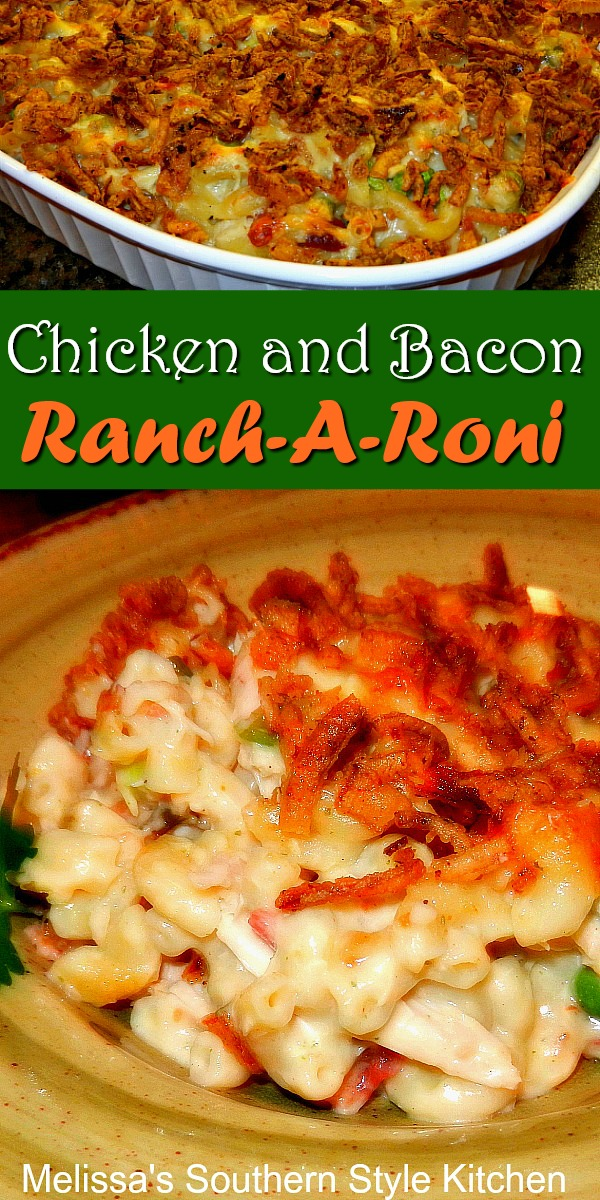 Chicken and Bacon Ranch-A-Roni #chicken #macaroniandcheese #rancharoni #chickenbaconranch #chickenbreastrecipes #pasta #dinnerideas #dinner #casseroles #southernfood #southernrecipes #bacon #eaychickenrecipes #macaroni #ranchdressing