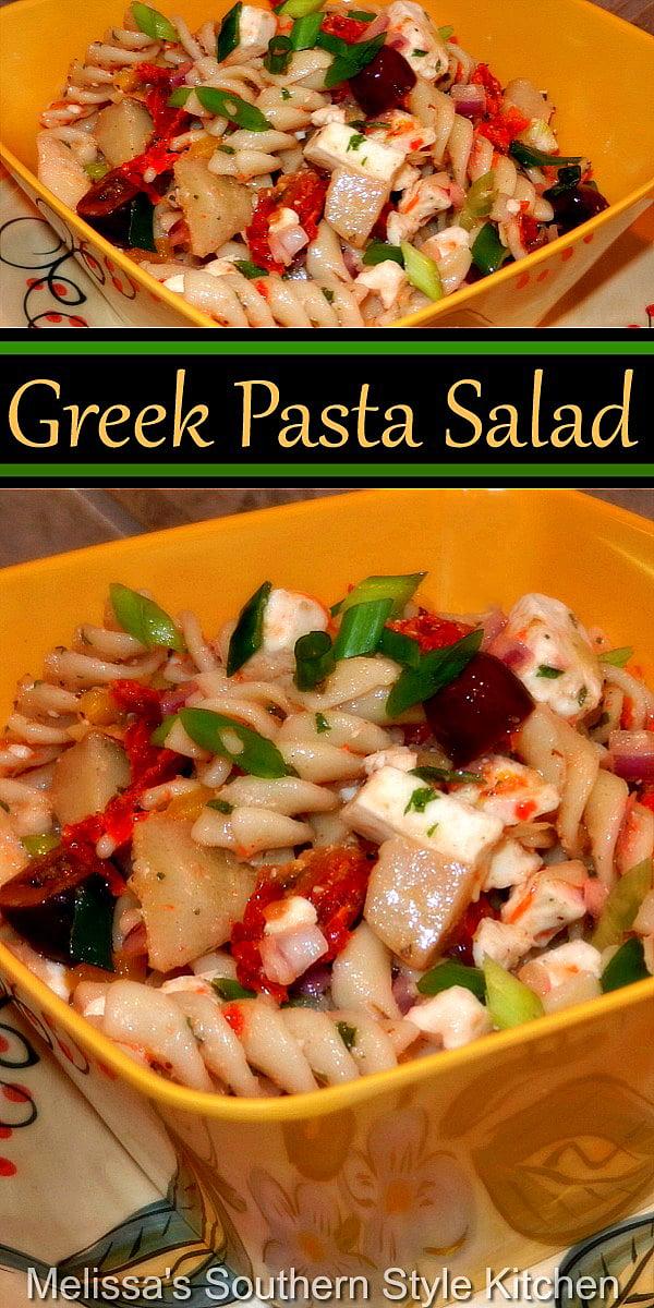 This Greek Pasta Salad is the ideal addition to your summer salads menu #greekpastasalad #pastasalad #greenpasta #pasta #saladrecipes #dinnerideas #dinner #sidedishrecipes #southernfood #southernrecipes #summersalads