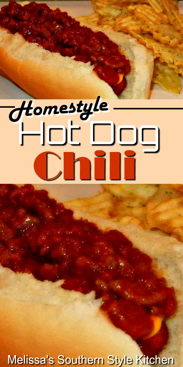 Homestyle Hot Dog Chili for cookouts and tailgating is the perfect topping for your hot dogs and grilled sausages #chili #hotdogchili #chilisauce #grilled #hotdogs #homestylechili #dinner #dinnerideas #food #recipes #southernfood #southernrecipes