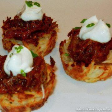 Pulled Pork Potato Skin Nests recipe