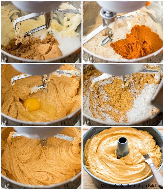 flour sugar eggs with pumpkin in a mixing bowl