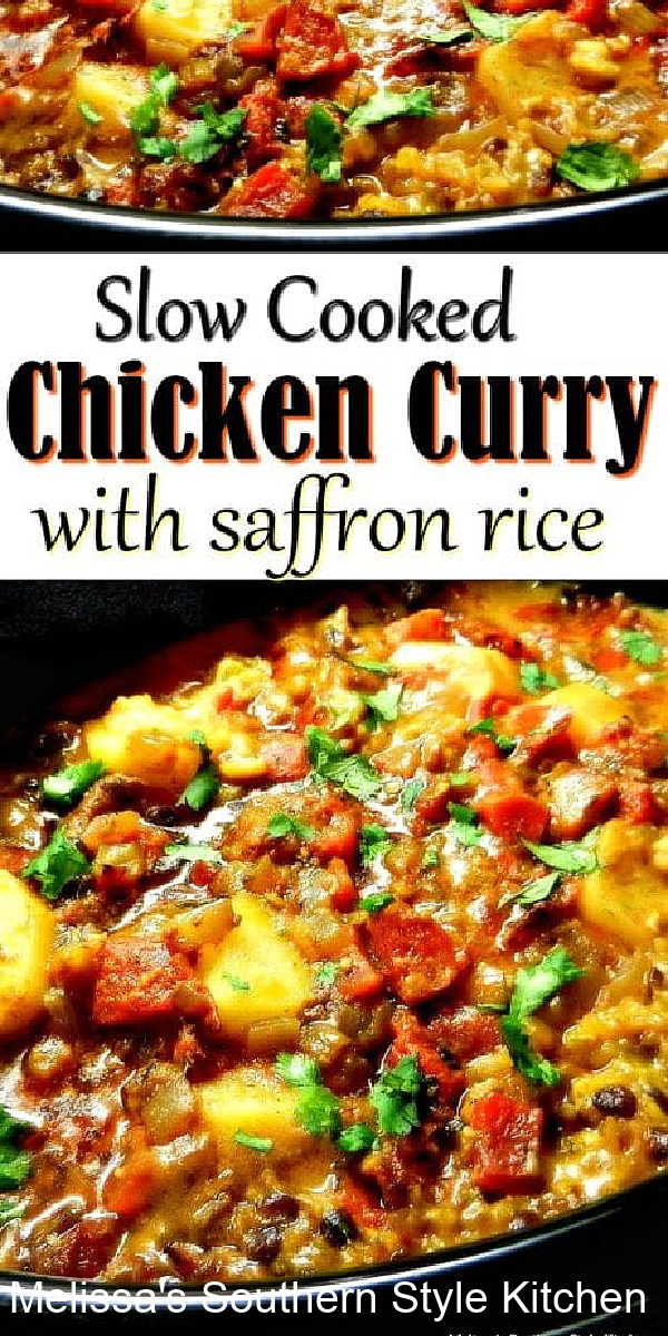 This Slow Cooked Chicken Curry And Saffron Rice is made in a crockpot bringing together international flair with family style dining #chickencurry #crocpotcurry #slowcookercurry #saffronrice #curryrecipes #easychickenrecipes