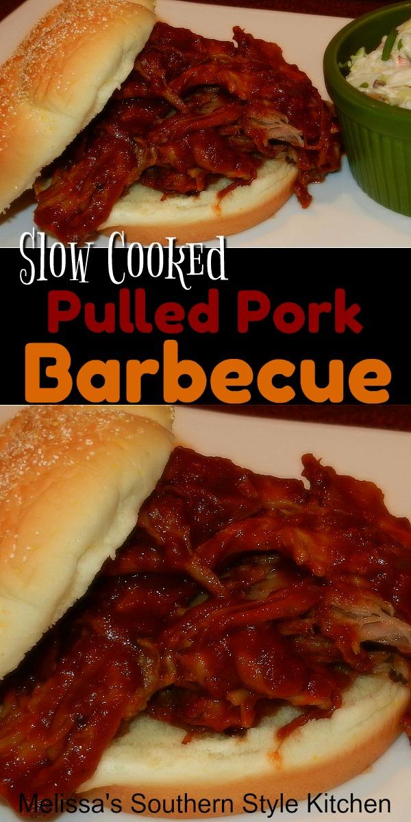 Slow Cooked Pulled Pork Barbecue #pulledpork #porkbarbecue #bbq #porkrecipes #crockpotporkbarbecue #porkrecipes #slowcookedpork #southernrecipes #southernfood