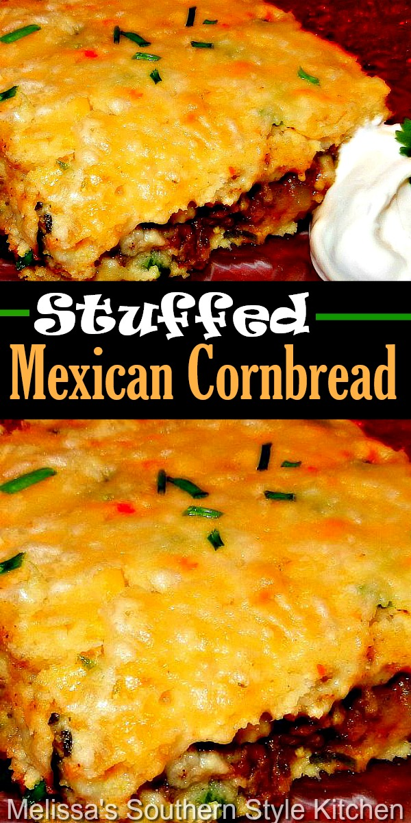 Filled with taco seasoned beef, this Stuffed Mexican Cornbread is practically a meal on it's own #stuffedmexicancornbread #mexicanrecipes #cornbread #groundbeefrecipes #easydinnerrecipes #southernfood #southerncornbread #cornbreadrecipes #dinnerideas #southernrecipes