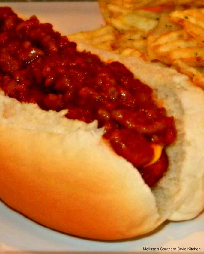 Hot dog with chili on a bun
