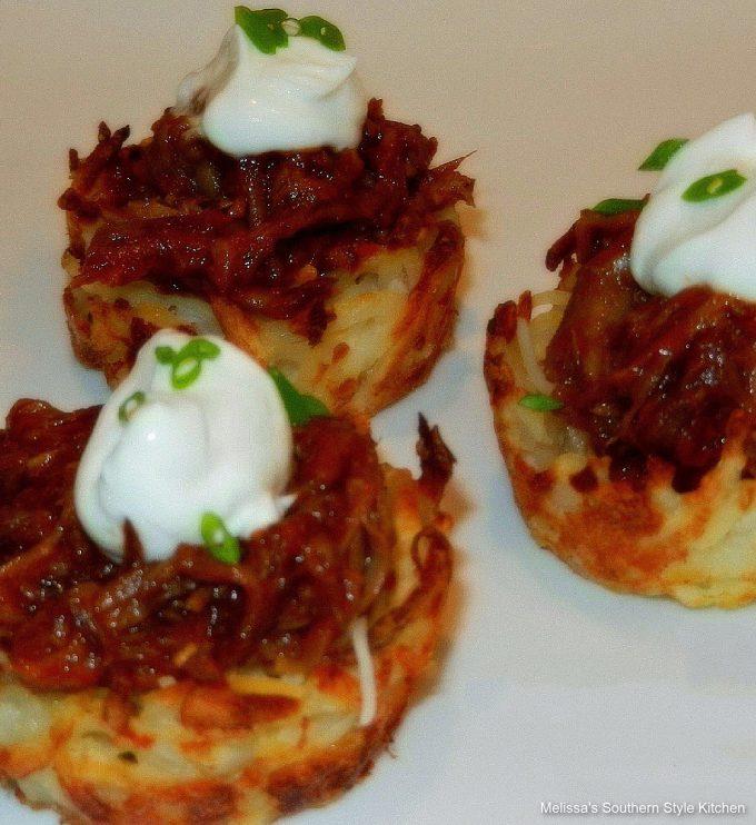 Pulled Pork Barbecue Potato Skin Nests recipe