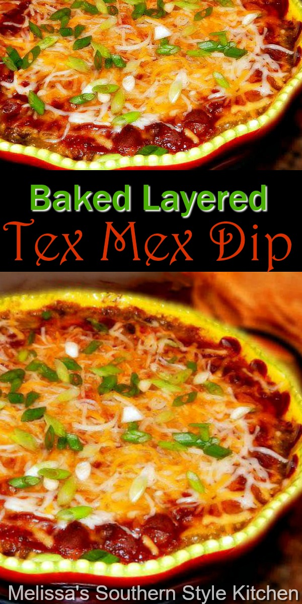 Grab some tortilla chips and start dipping this delicious warm and gooey Baked Layered Tex Mex Dip #bakedtexmexdip #mexicandip #layeredmexicandip #texmex #chili #diprecipes #appetizers #mexicanfood #football #gamedayrecipes #southernfood #southernrecipes
