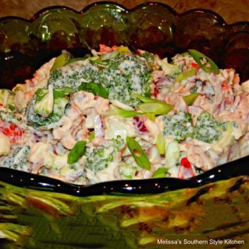 easy Broccoli Cauliflower Salad with Bacon and Swiss Cheese