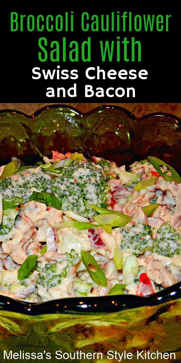 This Broccoli Cauliflower Salad is quick and simple combining fresh vegetables with Swiss cheese, bacon and a homemade buttermilk dressing #broccolisalad #broccolicauliflowersalad #saladrecipes #cauliflower #easyrecipes #sidedishrecipes #swisscheese #bacon #southernrecipes