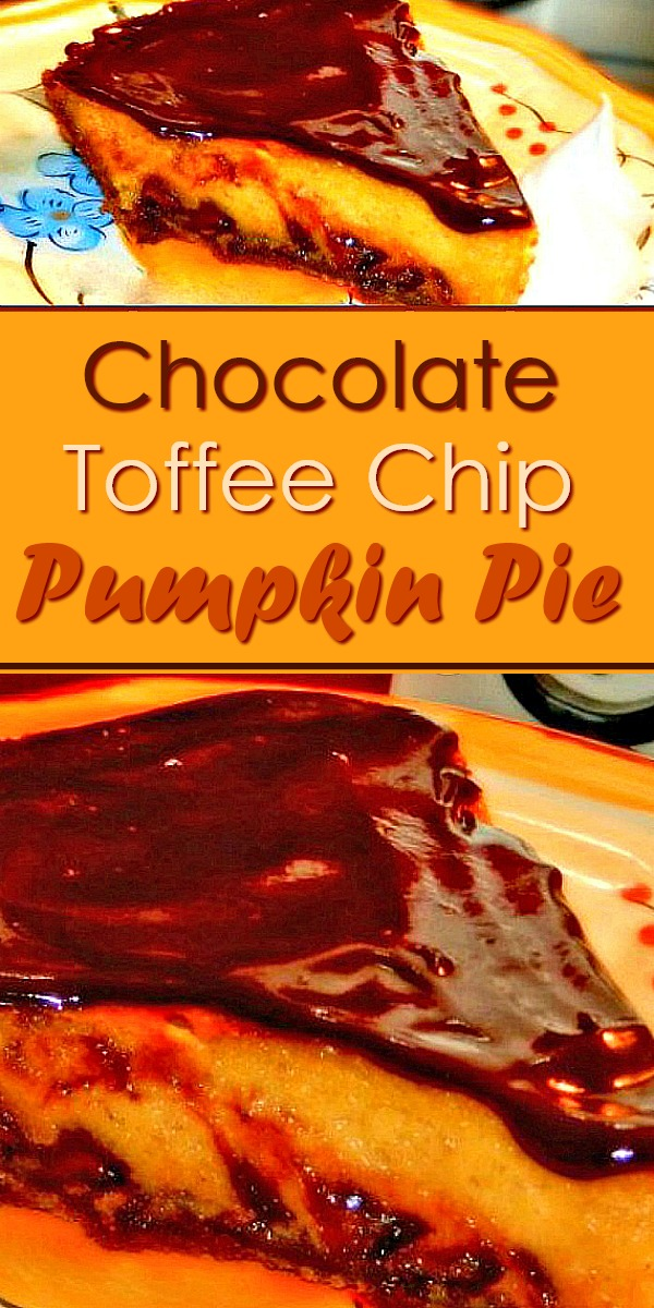 Take pumpkin pie to another level with the addition of chocolate and toffee #pumpkinpie #pumpkinpierecipes #chocolate #toffee #thanksgiving #thanksgivingdesserts #pumpkin #pierecipes #desserts #bestpumpkinpie #southernfood #southernrecipes