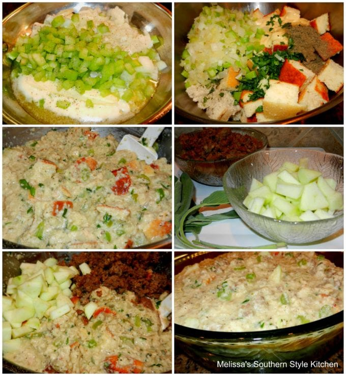 step-by-step images to onion and celery in  pan with cubed bread sausage and apples