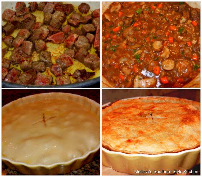 Step-by-step preparation images and ingredients forSteak and Mushroom Pie