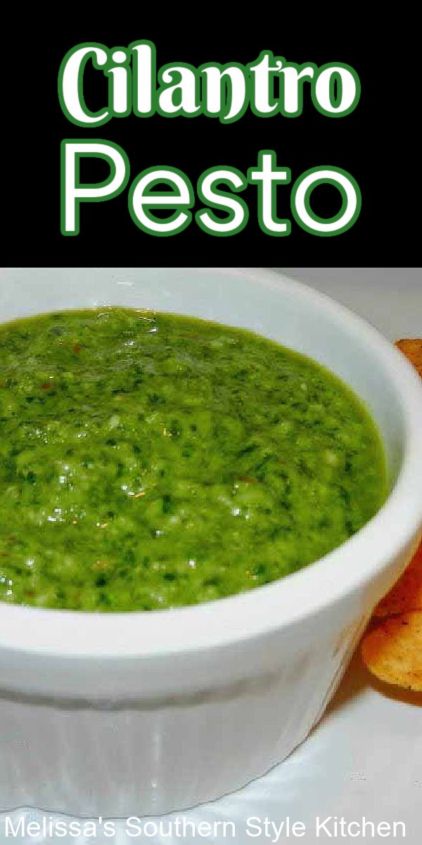 This Cilantro Pesto can be tossed with pasta or rice, used as a condiment for steaks and chicken or used as a topping for salads and tacos #pestorecipes #cilantropesto #pesto #condiments #easypestorecipes #vegetarian #southernstyle