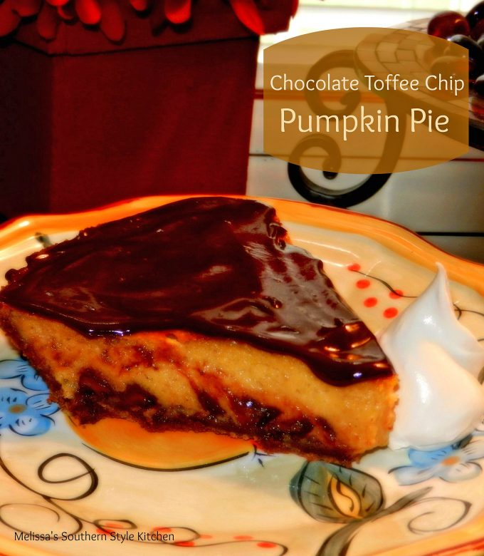Chocolate Toffee Chip Pumpkin Pie - melissassouthernstylekitchen.com