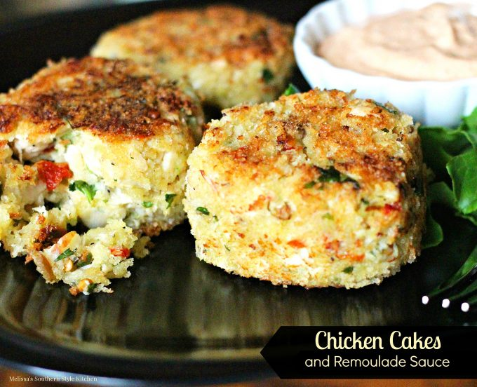 Chicken Cakes And Remoulade Sauce on a plate