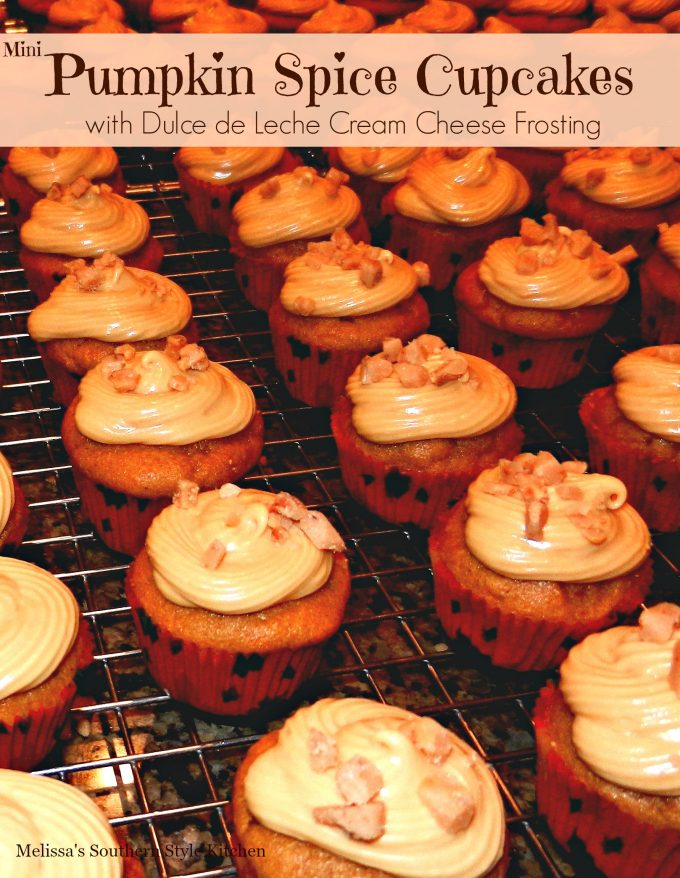 Tiny Pumpkin Spice Cupcakes With A Dulce de Leche Cream Cheese Icing