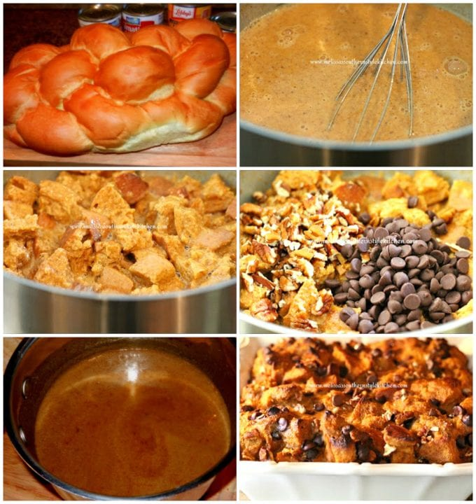 step-by-step images and ingredients for pumpkin bread pudding