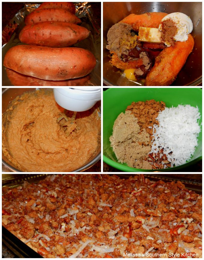 ingredients to make Sweet Potato Casserole with Gingersnap Crust
