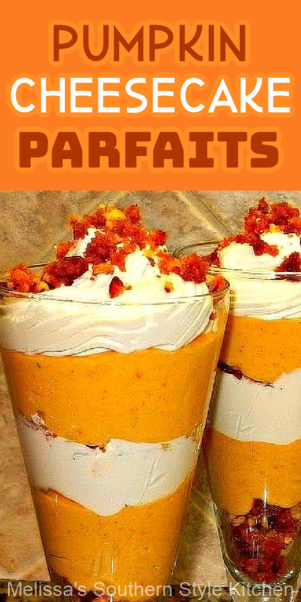 These fall-ready Pumpkin Cheesecake Parfaits feature swirls of pumpkin, whipped cream and a homemade pecan crunch #pumpkincheesecake #pumpkinspice #pumpkinparfaits #parfaits #pumpkincheesecakeparfaits #parfaitrecipes #fallrecipes #pumpkindesserts