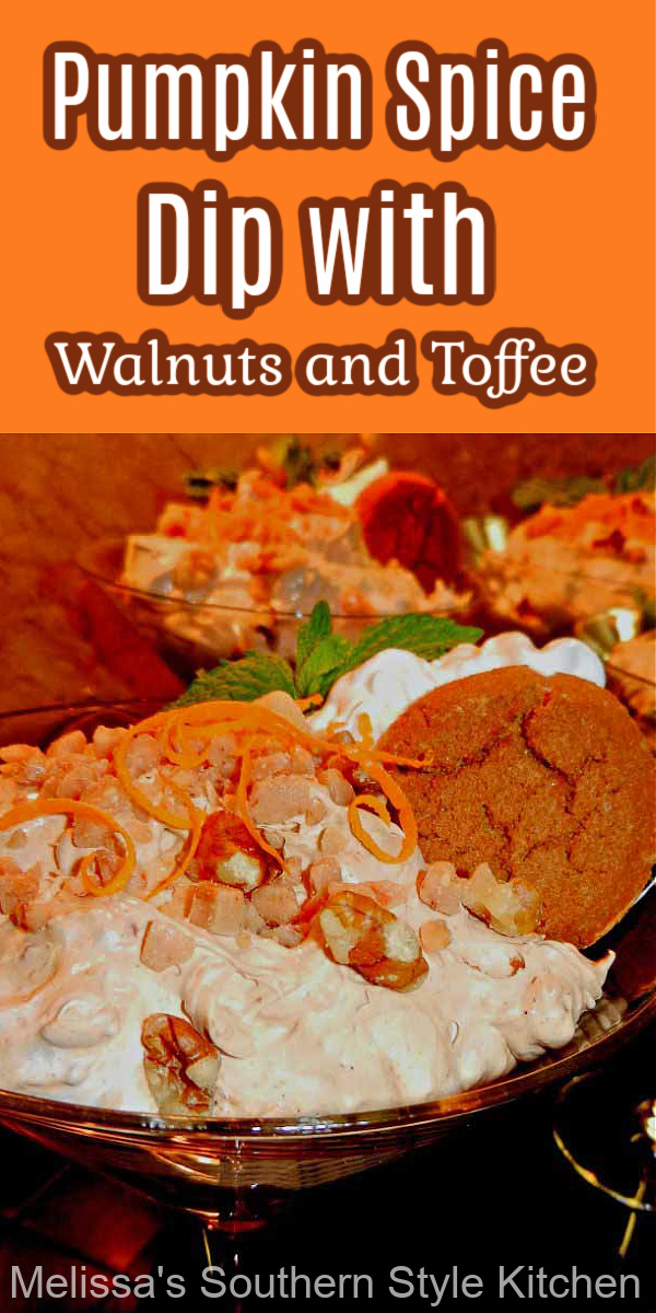 This Pumpkin Spice Dip features creamy pumpkin spice pudding, toasted walnuts and fresh orange zest for a beautiful seasonal combination #pumpkinspicedip #pumpkinspice #pumpkinrecipes #thanksgivingdesserts #pumpkindip #sweets #pumpkinspicedesserts